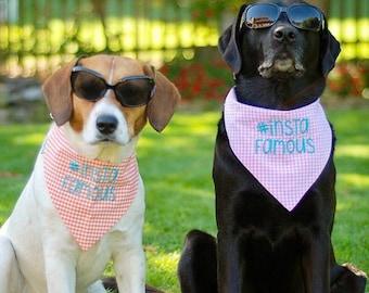 Gingham Dog Bandana, Insta Famous Pet Bandana, Dog Gift, Personalized Pet Neckwear, Pet Accessories, Classic Tie, Dog Wedding, Puppy Dog
