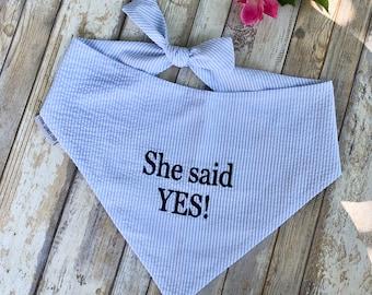 Custom Seersucker Bandana, Dog Bandana for a Wedding, Personalized Neckwear, Pet Accessories, Classic Tie, Dog Wedding, Boy Dog