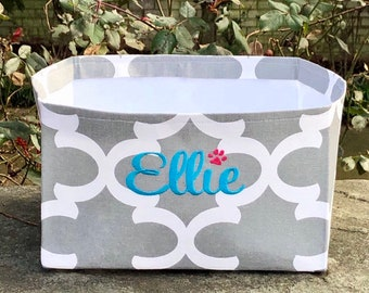 Personalized Dog Toy Basket, Quatrefoil Toy Basket with Monogram, Moroccan Bin for Dog Treats, Custom Puppy Toy Basket, Pet Gift Basket