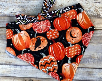 Fall Pumpkin Dog Bandana,  Bow Ties and Sailor Bows for Collars, Personalized Pet Bandana, Fall Scarf for Dogs, Great Pet Gift,