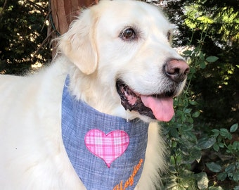 Denim Dog Bandana, Personalized Denim Dog Bandana with Plaid Heart, Reversible Denim and Pink Plaid with Denim, Birthday Boy Gift