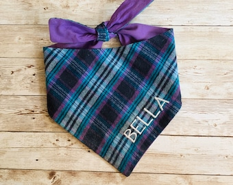 Flannel Plaid Dog Bandana in Grey, Black, and Purple.  We have 20 Flannel Plaids in stock!