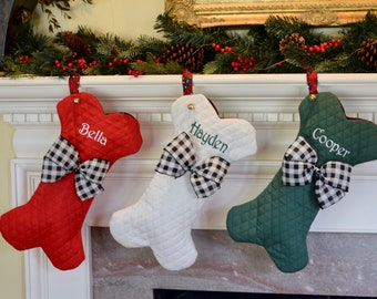 28c9749288f7 Personalized Dog Bone Christmas Stockings, Dog Bone Stocking, Personalize  Pet Stocking, Personalized Stockings in Red Green or Winter White