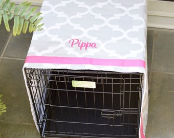 Personalized Crate Cover, Farmhouse Buffalo Check  Dog Kennel Cover, Monogram Crate Cover, Sizes Sm - XXL, Monogrammed Crate Cover