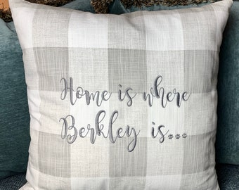 Home is Where my Dog is pillow, Decorative Dog Pillow, Goldendoodle, Doggie Decor, Accent Pillow for Dog Lover Gift, Custom Dog Pillow