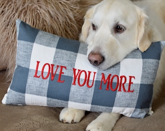 Farmhouse Buffalo Check Pillow, LOVE YOU MORE, Throw Pillow for Dog Lover, Decorative Dog Pillow, Goldendoodle, Doggie Decor, Puppy Dog Gift