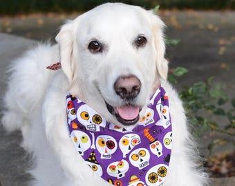Halloween Dog Bandana, Purple Pet Bandana with Skulls, Personalized Classic Tie  Scarf,  Limited Quantity