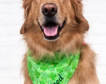 Personalized St Patricks Dog Bandana | Personalized Pet Scarf | Reversible Dog Scarf | Puppy Dog Gift