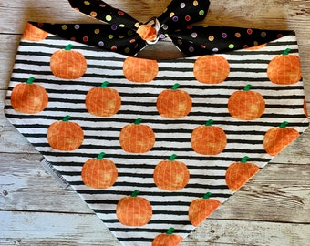 Fall Pumpkin Dog Bandana,  Bow Ties and Sailor Bows for Collars, Personalized Boho Pet Bandana, Fall Scarf for Dogs, Great Pet Gift,