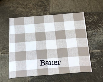 Dog Food Mat, Cat Food Mat, Dog Placemat for Food and Water, Personalized Farmhouse Check Fabric Pet Food Mat, Dog Mats for Food