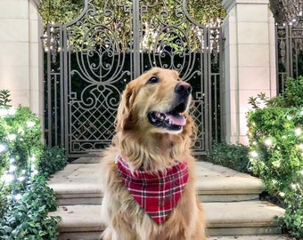 Flannel Plaid Dog Bandana in Red, Green, and White - We have 20 different Flannel Plaids in stock!