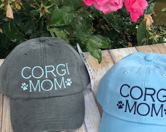 Corgi Mom Hat, Dog Mom Hat, Personalized Dog Mom Gift, Custom Dog Lover gift, You Pick the Colors, Baseball Cap Comes in 24 colors