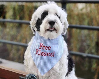 Gingham Dog Bandana, Free Kisses Pet Bandana, Dog Gift, Personalized Pet Neckwear, Pet Accessories, Classic Tie, Dog Wedding, Puppy Dog