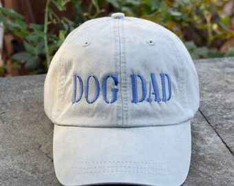 Dog Dad Hat, Personalized Dads Baseball Cap in 24 Colors, Dog Lover Gift, Great Father's Day Gift
