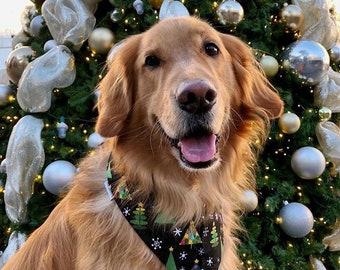 Christmas Trees Dog Bandana    Personalized Pet Bandana with Christmas Trees   Classic Tie Bandanas Limited Quantity