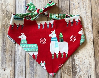 Christmas Llama Dog Bandana |  Personalized Pet Bandana with Llamas | Classic Tie Bandanas Limited Quantity