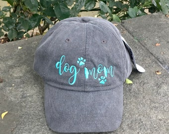 Dog Mom Hat, Dog Mom with Paw Prints,  Dog Lover Gift, Gift For Mom, Baseball Cap Comes in 24 colors