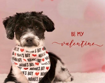 Mama's Boy  Dog Bandana | Reversible Pet Scarf with Mamas Boy and Hearts | Tiny Red Hearts on the Back | Puppy Dog Gift