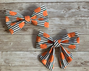 Pumpkins Dog Bow Tie, Personalized Girl Sailor Bow Tie, Girl Bows too for Weddings, Dog Lover Gift, Personalized for Special Occasions