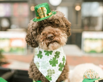 Personalized Shamrocks Dog Bandana | St Patrick's Day Pet Scarf | Reversible Celtic Medallions Clovers Dog Scarf | Puppy Dog Gift