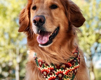 Thanksgiving Turkeys Dog Bandana  || Autumn Fall Colors Red Gold Yellow Green || Orange Quatrefoil  || Puppy Gift by Three Spoiled Dogs