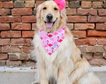 Dog Scarf, Dog Bandana, Personalized Dog Bandana with Flamingos, Size Extra Extra Small to Extra Large, Reversible, Pet Accessories