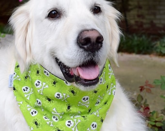 Halloween Dog Bandana, Pet Bandana with Skull & Cross Bones and Spiders, Puppy Gift, Pet Neckwear, Pet Accessories, Classic Glow In The Dark