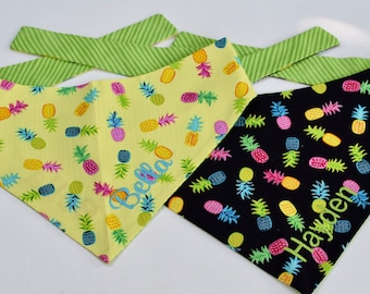 Pineapple Dog Scarf, Personalized Dog Bandanas with Pineapples, Size Extra Extra Small to Extra Large,Custom Gift, Pet Accessories