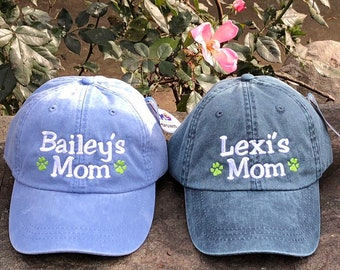 Personalized Dog Mom Hat, Dog Mom Gift, Dog Lover gift, Gift For Mom, Baseball Cap Comes in 24 colors