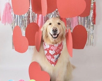 Personalized Dog Bandana with Hearts, Valentine's Day Personalized Pet Scarf, Reversible Custom Puppy Dog Gift