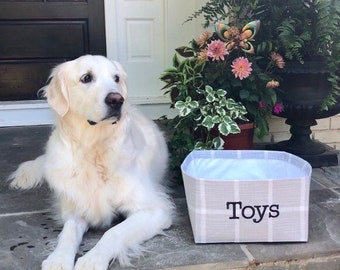 Personalized Dog Toy Basket, Farmhouse Check Toy Bin, Toy Basket with Monogram, Custom Gift Basket for Treats