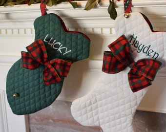 Personalized Pet Christmas Stocking, Cat Christmas Stocking, Dog Bone Stocking, Cat Fish Stocking, Red Green or Winter White, Personalized