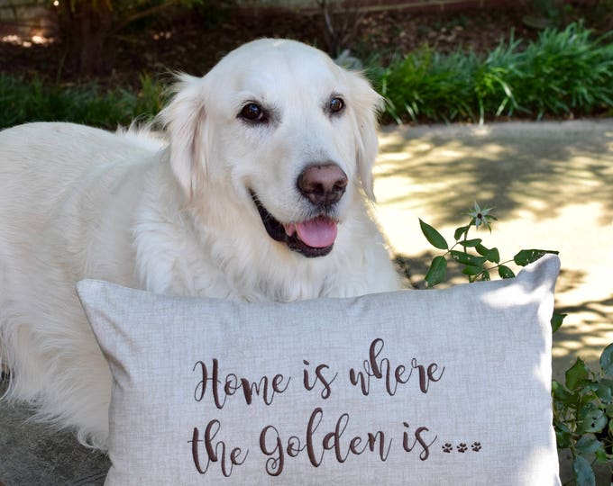 Featured listing image: Home is Where the Golden is pillow, Decorative Dog Pillow, Goldendoodle, Doggie Decor, Accent Pillow for Dog Lover Gift, Custom Dog Pillow