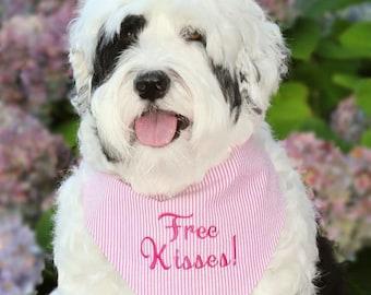 Personalized Seersucker Dog Bandana, Custom Pet Bandana, Dood of Honor, Free Kisses, Fetch Happens, I Do, Best Dog,  Wedding Bandana