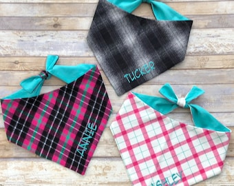 Personalized Plaid Dog Bandana, Monogrammed Flannel Pet Bandana, Dog Gift, Pet Neckwear, Accessories, Classic Tie, Family Photos, Puppy Dog