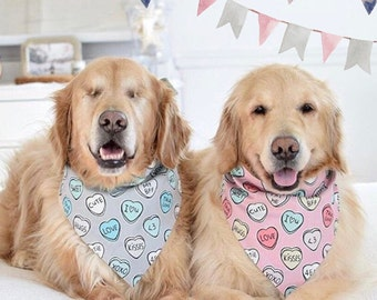 Personalized Valentine's Dog Bandana | Grey with Shades of Aqua Conversation Hearts | Reversible Pet Scarf | Dog Gift Three Spoiled Dogs