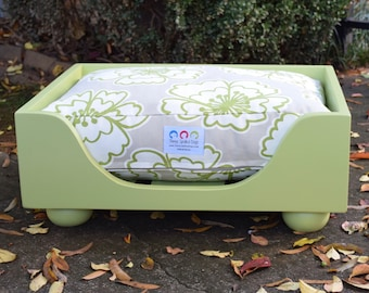 Wood Dog Bed Frame, Raised Painted Dog Bed in 11 Different Colors, Small to Extra Large Custom Bed