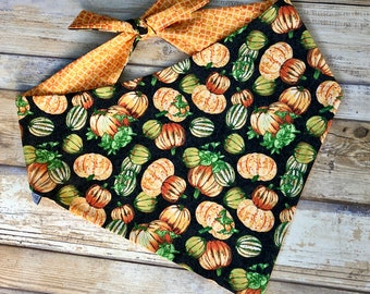 Pumpkins Autumn Bandana  - Frightful & Delightful Glow In The Dark - Reversible Pet Scarf - Dog Lover Gift by Three Spoiled Dogs
