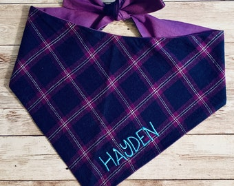 Navy, Purple and Turquoise Flannel Pet Bandana ||  Personalized Pet Scarf || Puppy Gift by Three Spoiled Dogs