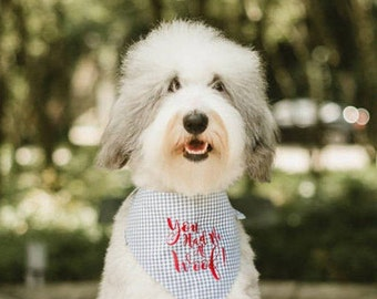 Gingham Dog Bandana, You Had Me Woof Pet Bandana, Personalized Dog Gift, Pet Accessories for Dog Wedding