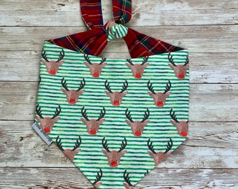 Christmas Rudolph Red Nose Bandana |  Personalized Pet Bandana with Christmas Flannel Plaid | Classic Tie Bandanas Limited Quantity