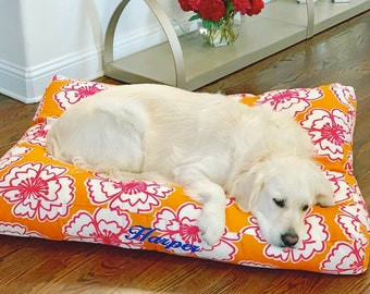 Personalized Dog Bed, Dog Pillow in Orange Pink Poppy Floral, Washable Dog Bed Cover, Custom Puppy Dog Gift