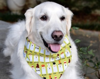 Halloween Dog Bandana, Lime Pet Bandana with Ghosts, Puppy Gift, Personalized Pet Accessories, Glow In The Dark, Limited Quantity