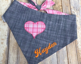 Denim Dog Bandana, Personalized Denim Dog Bandana with Plaid Heart, Reversible Denim and Pink Plaid with Denim, Birthday Boy Gift