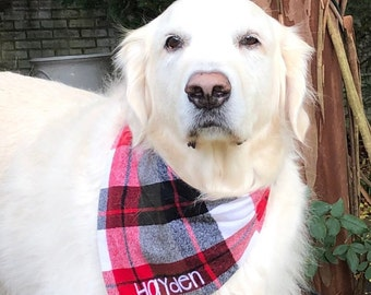Flannel Plaid Dog Bandana in Red, Navy, Green, and Gold.  We have 20 Flannel Plaids in stock!
