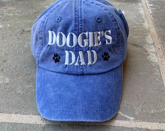 Dog Dad Hat, Personalized Dads Baseball Cap in 24 Colors, Custom Dog Lover Gift, Great Father's Day Gift