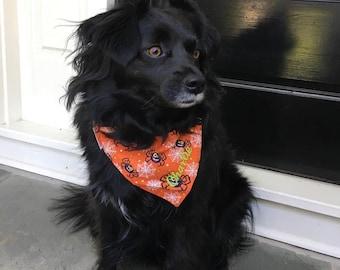 Halloween Dog Bandana, Pet Bandana with Spiders & Webs, Personalized Classic Tie Bandana  Limited Quantity