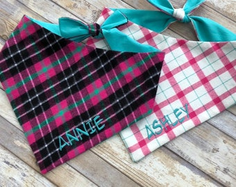 Flannel Dog Bandana, Monogrammed Pet Bandana, Dog Gift, Personalized Pet Neckwear, Pet Accessories, Classic Tie, Family Photos, Puppy Dog