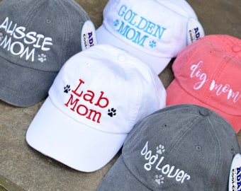 Dog Mom Baseball Cap - Handwriting and Paw Prints Baseball Cap