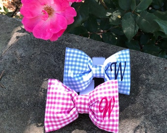 Monogram Dog Bow Tie - Personalized Pink Gingham Pet Bow Tie with 1, 2 or 3 Initials - The Best Custom Puppy Dog Gift by Three Spoiled Dogs